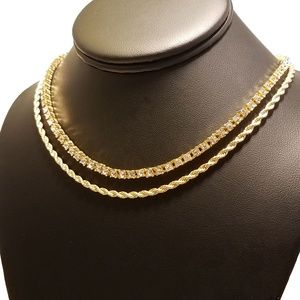 f0b11feabd86a 14k Gold Plated Tennis & Rope Chain Necklace Set NWT